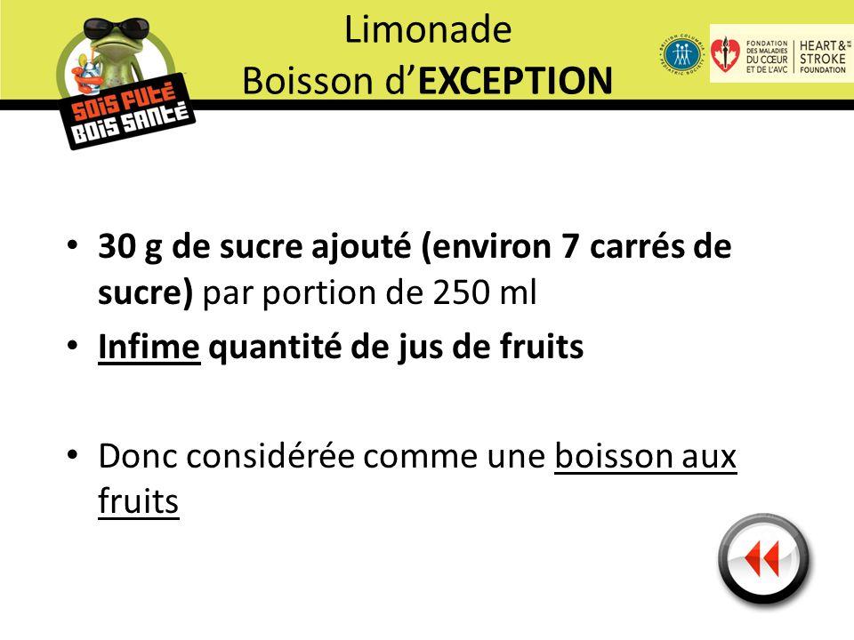 30 g de sucre ajouté (environ 7 carrés de sucre) par portion de 250 ml Infime quantité de jus de fruits Donc considérée comme une boisson aux fruits Limonade Boisson d'EXCEPTION