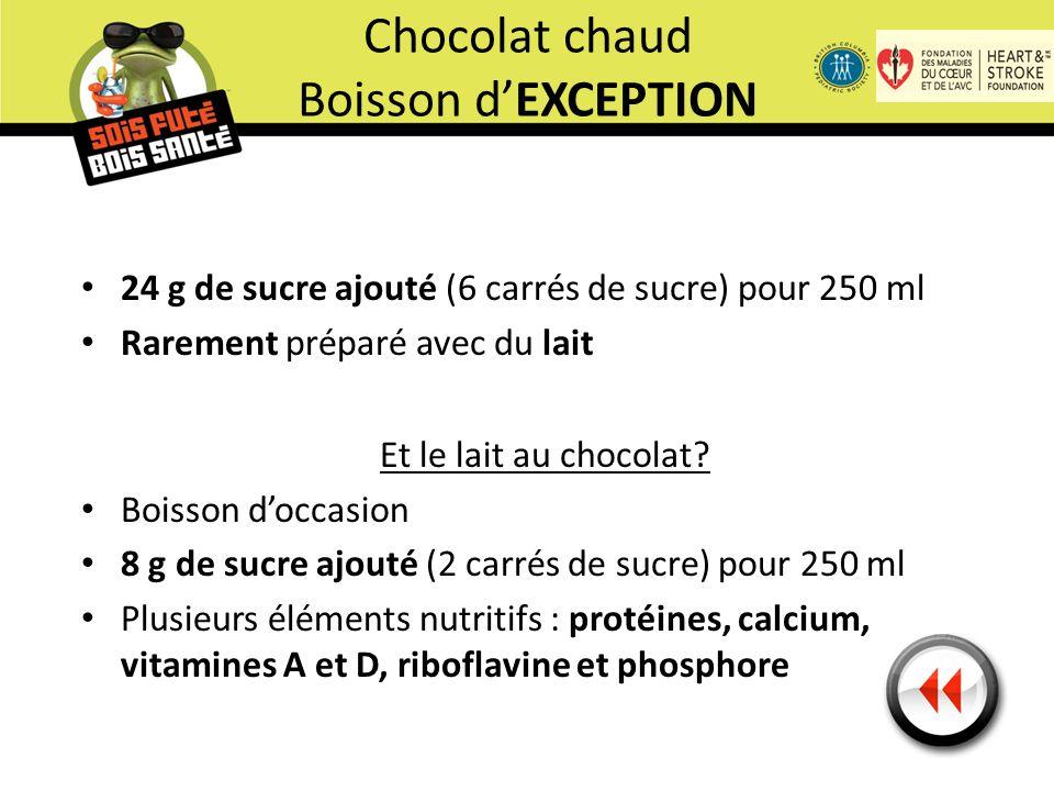 24 g de sucre ajouté (6 carrés de sucre) pour 250 ml Rarement préparé avec du lait Et le lait au chocolat.