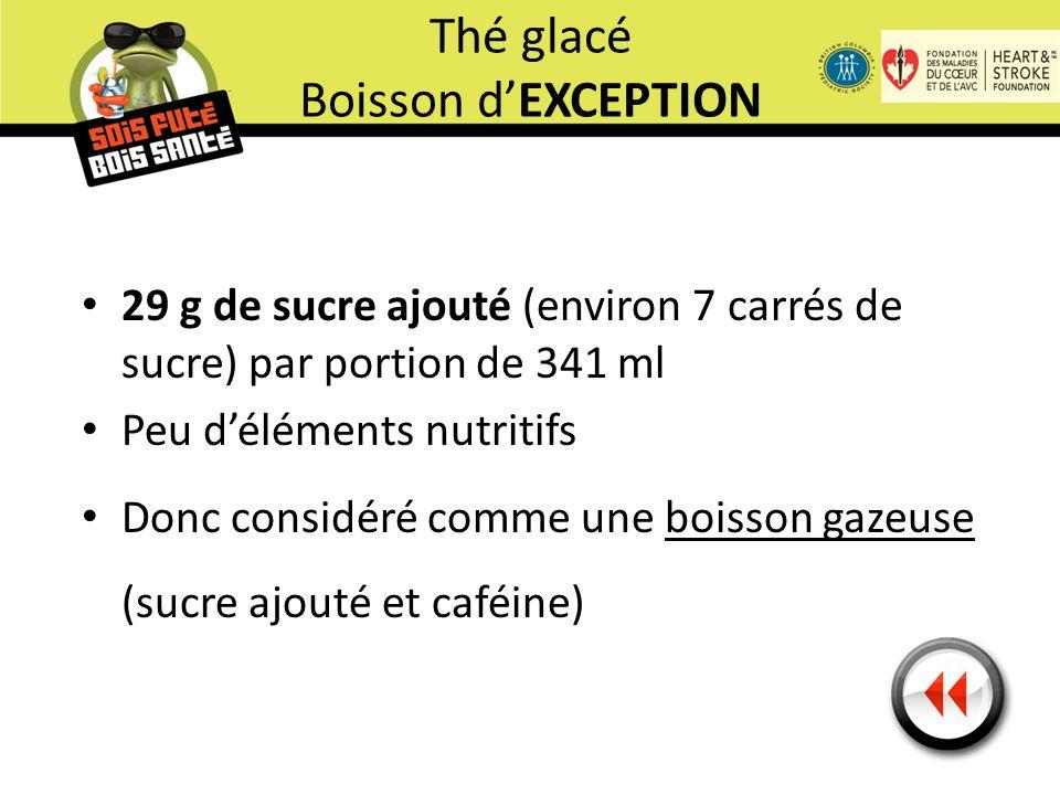 29 g de sucre ajouté (environ 7 carrés de sucre) par portion de 341 ml Peu d'éléments nutritifs Donc considéré comme une boisson gazeuse (sucre ajouté et caféine) Thé glacé Boisson d'EXCEPTION