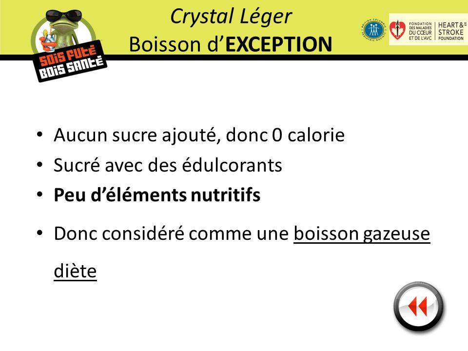 Aucun sucre ajouté, donc 0 calorie Sucré avec des édulcorants Peu d'éléments nutritifs Donc considéré comme une boisson gazeuse diète Crystal Léger Boisson d'EXCEPTION