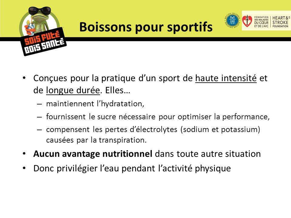 Boissons pour sportifs Conçues pour la pratique d'un sport de haute intensité et de longue durée.