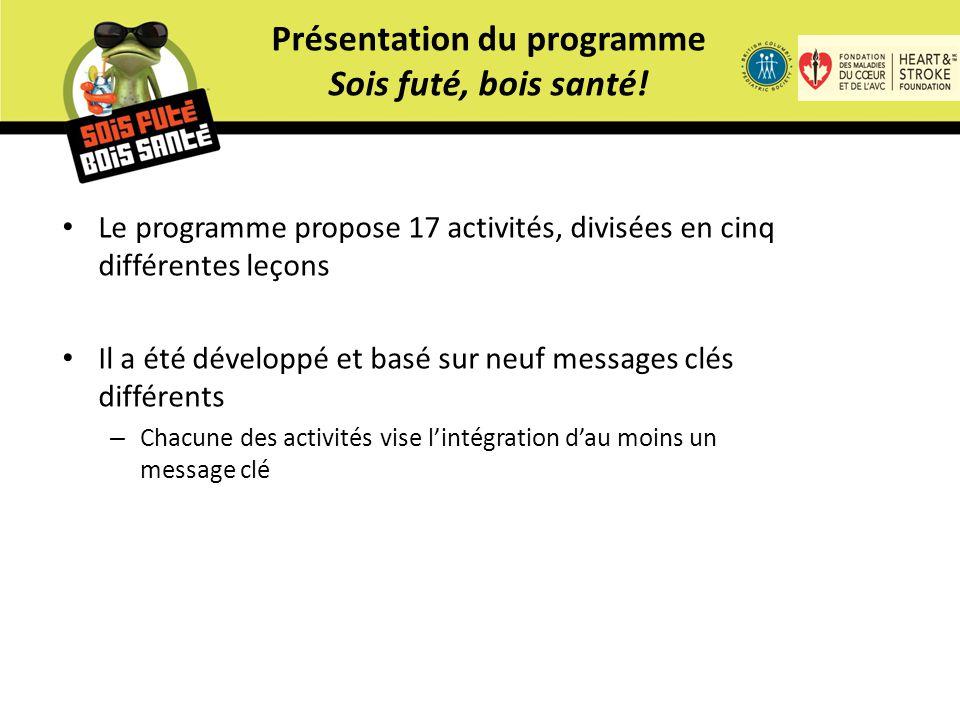 Le programme propose 17 activités, divisées en cinq différentes leçons Il a été développé et basé sur neuf messages clés différents – Chacune des activités vise l'intégration d'au moins un message clé Présentation du programme Sois futé, bois santé!