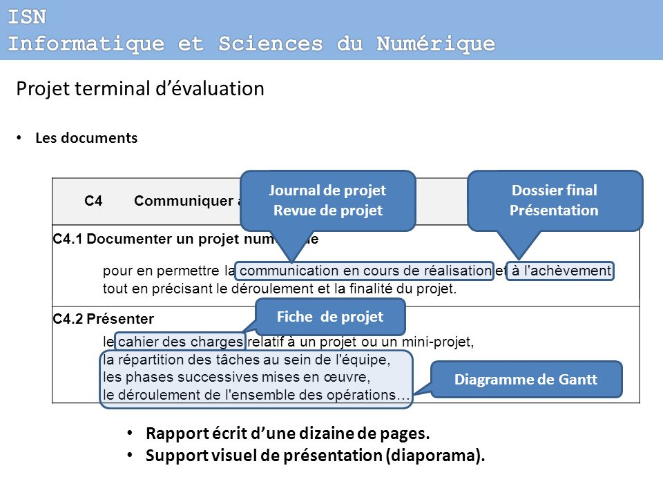 Projet terminal d'évaluation Réflexions collectives Définitions des problématiques de projet Critères de qualification d'un projet Conditions d 'évaluation Constitution des documents remis par les candidats