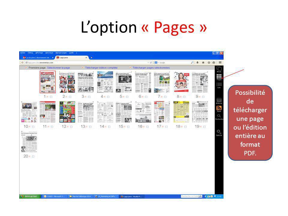 L'option « Lire » Pour avoir accès directement aux articles souhaités.
