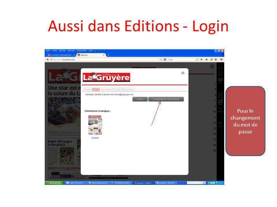 Aussi dans Editions - Login Pour le changement du mot de passe