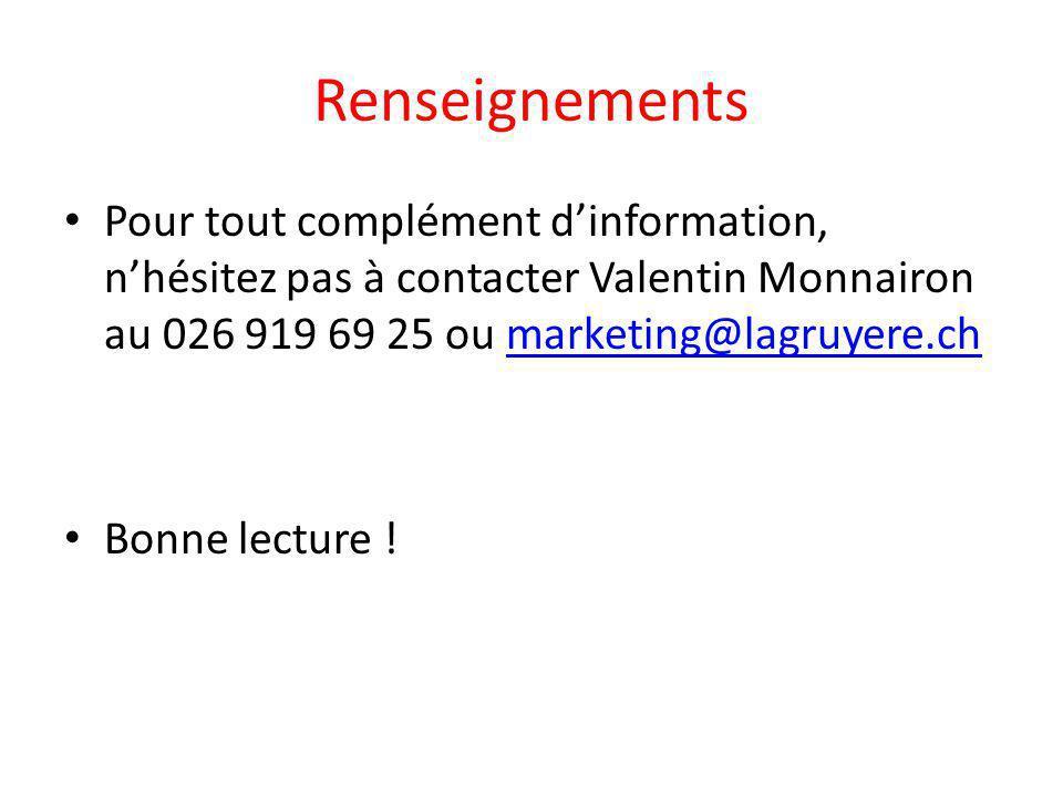 Renseignements Pour tout complément d'information, n'hésitez pas à contacter Valentin Monnairon au 026 919 69 25 ou marketing@lagruyere.chmarketing@la