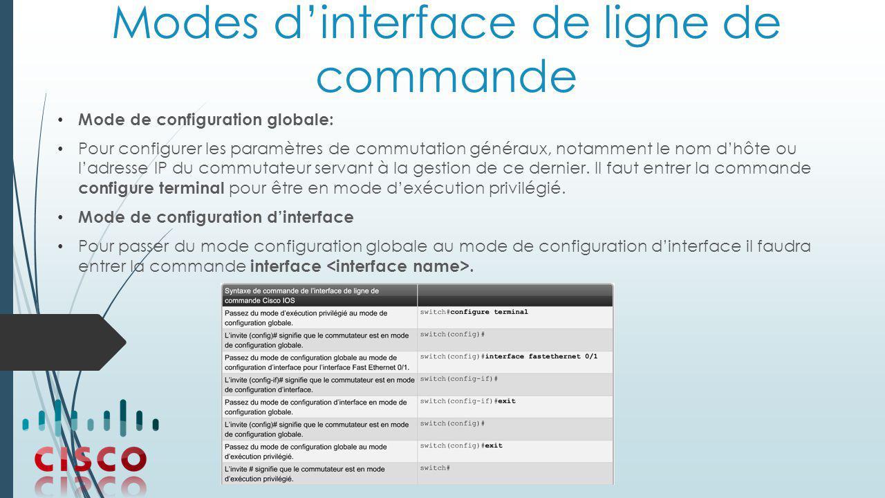Modes d'interface de ligne de commande Mode de configuration globale: Pour configurer les paramètres de commutation généraux, notamment le nom d'hôte ou l'adresse IP du commutateur servant à la gestion de ce dernier.