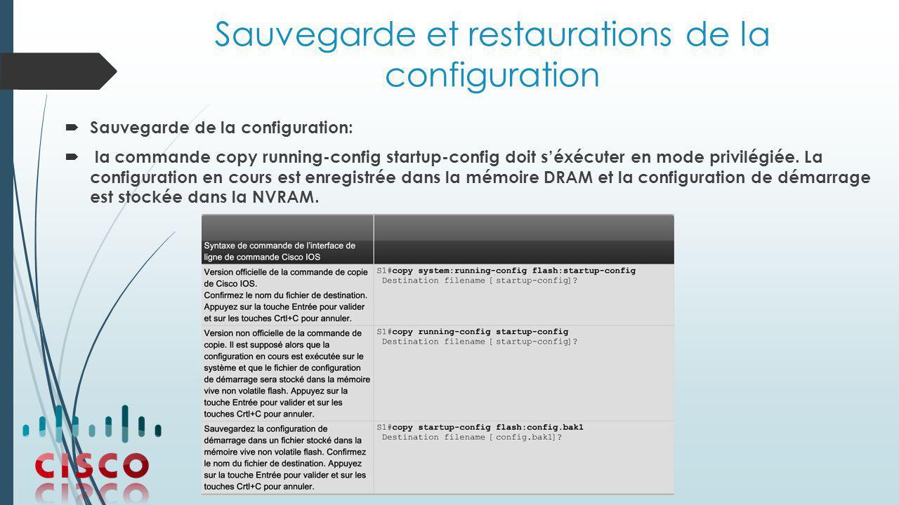 Sauvegarde et restaurations de la configuration  Sauvegarde de la configuration:  la commande copy running-config startup-config doit s'éxécuter en mode privilégiée.