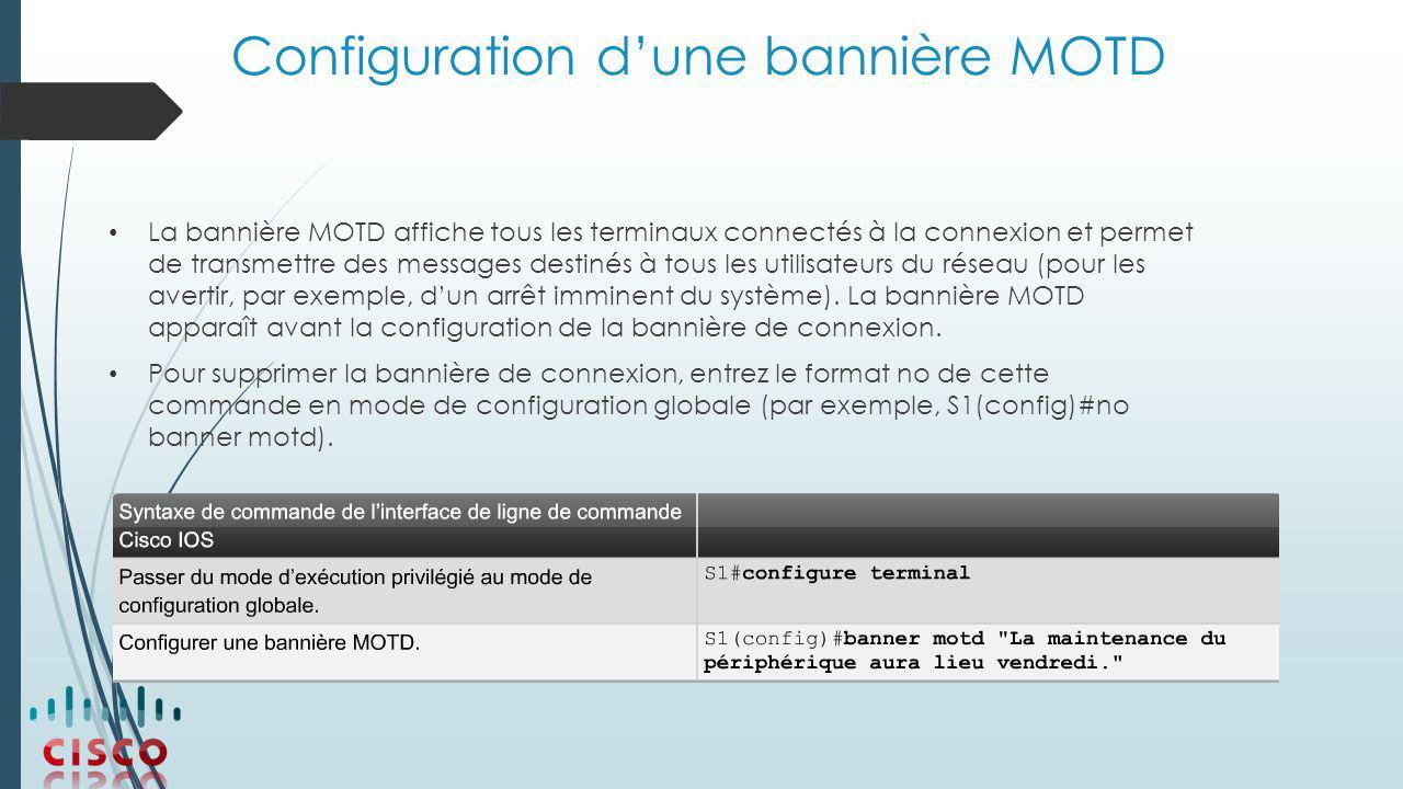 Configuration d'une bannière MOTD La bannière MOTD affiche tous les terminaux connectés à la connexion et permet de transmettre des messages destinés à tous les utilisateurs du réseau (pour les avertir, par exemple, d'un arrêt imminent du système).