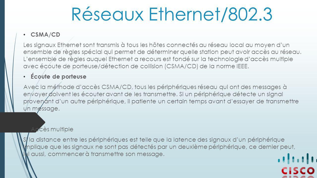 Réseaux Ethernet/802.3 CSMA/CD Les signaux Ethernet sont transmis à tous les hôtes connectés au réseau local au moyen d'un ensemble de règles spécial qui permet de déterminer quelle station peut avoir accès au réseau.