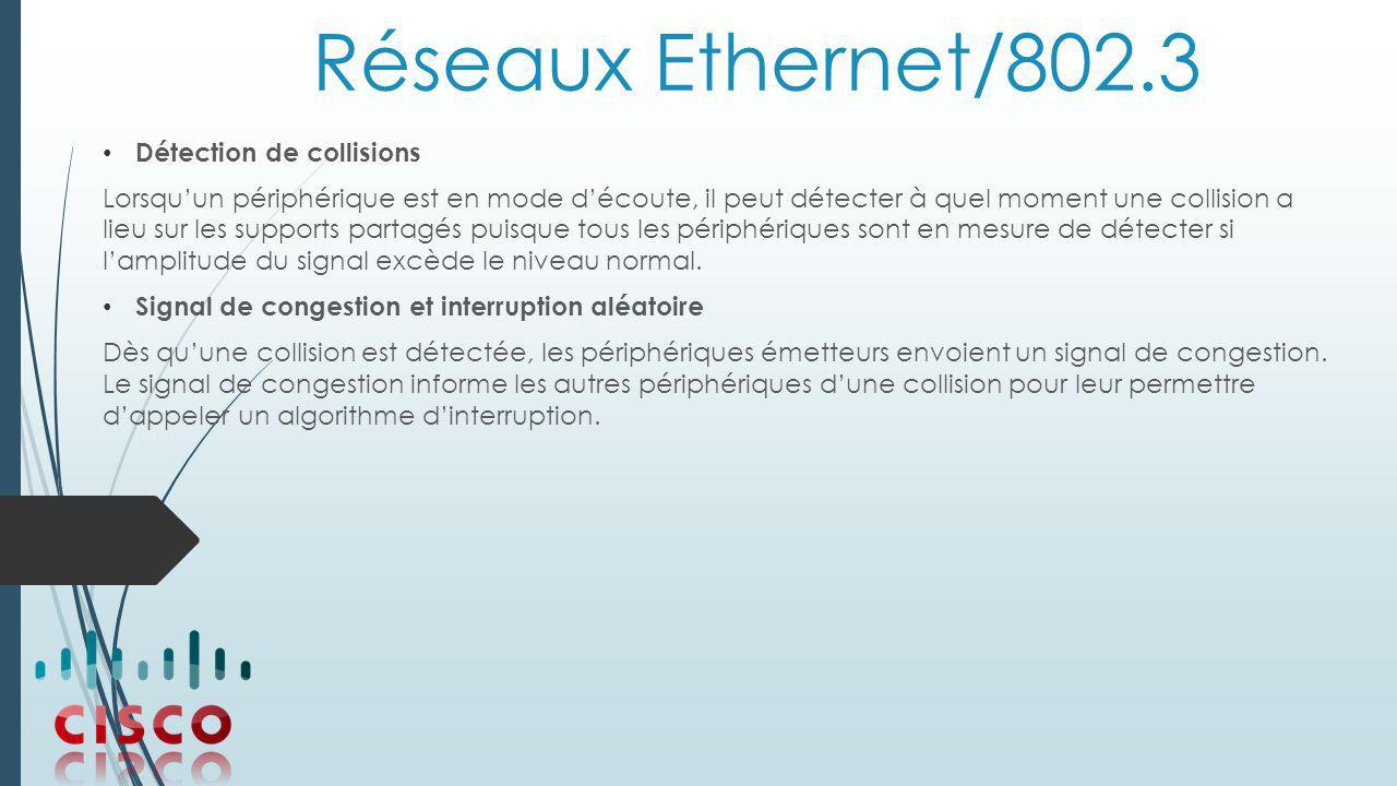 Réseaux Ethernet/802.3 Détection de collisions Lorsqu'un périphérique est en mode d'écoute, il peut détecter à quel moment une collision a lieu sur les supports partagés puisque tous les périphériques sont en mesure de détecter si l'amplitude du signal excède le niveau normal.