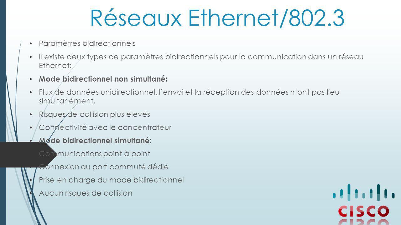 Réseaux Ethernet/802.3 Paramètres bidirectionnels Il existe deux types de paramètres bidirectionnels pour la communication dans un réseau Ethernet: Mode bidirectionnel non simultané: Flux de données unidirectionnel, l'envoi et la réception des données n'ont pas lieu simultanément.