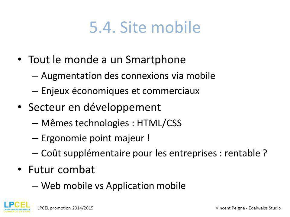 5.4. Site mobile Tout le monde a un Smartphone – Augmentation des connexions via mobile – Enjeux économiques et commerciaux Secteur en développement –