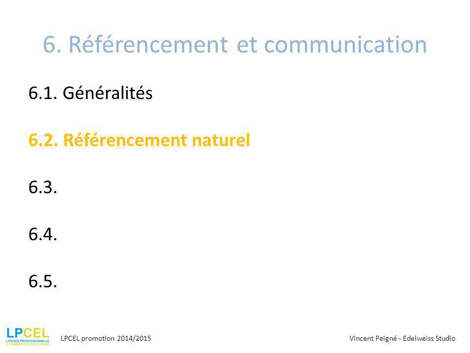 6.Référencement et communication 6.1. Généralités 6.2.