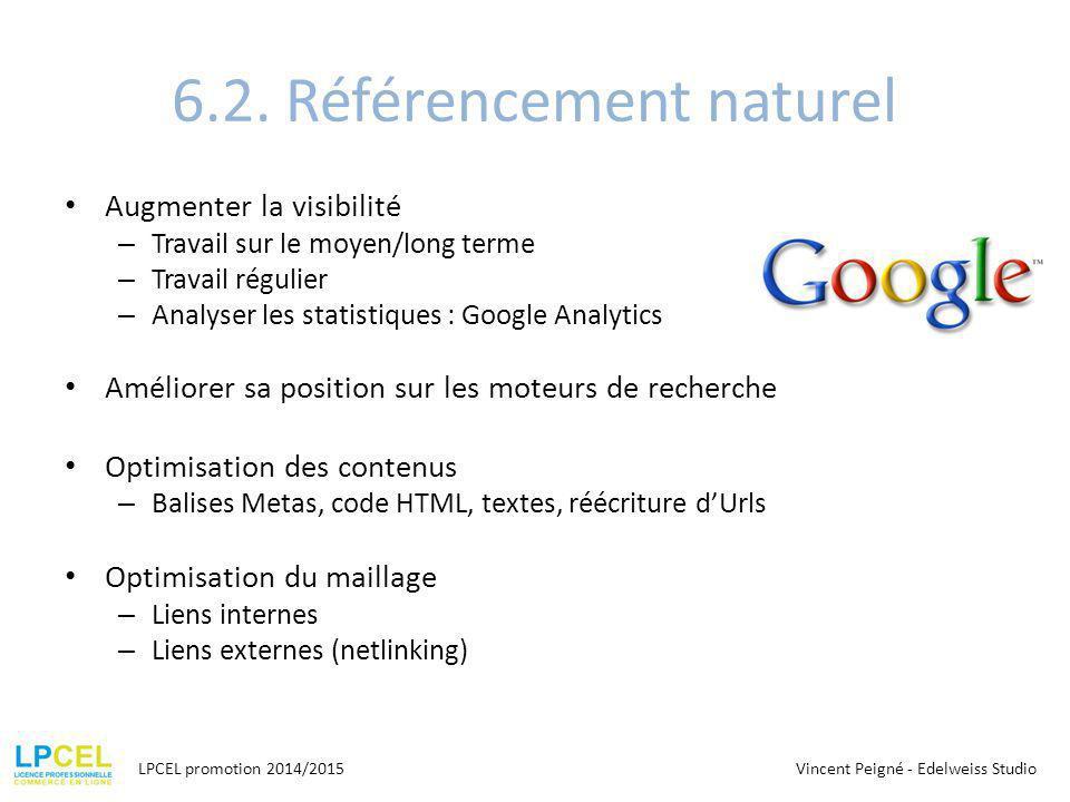 6.2. Référencement naturel Augmenter la visibilité – Travail sur le moyen/long terme – Travail régulier – Analyser les statistiques : Google Analytics