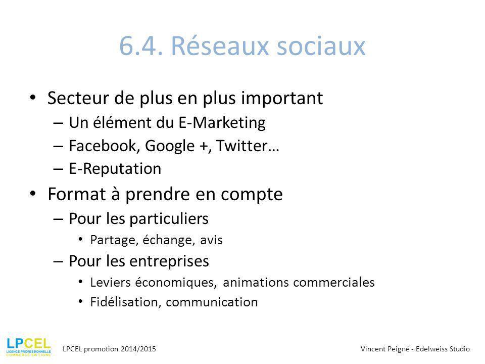 6.4. Réseaux sociaux Secteur de plus en plus important – Un élément du E-Marketing – Facebook, Google +, Twitter… – E-Reputation Format à prendre en c