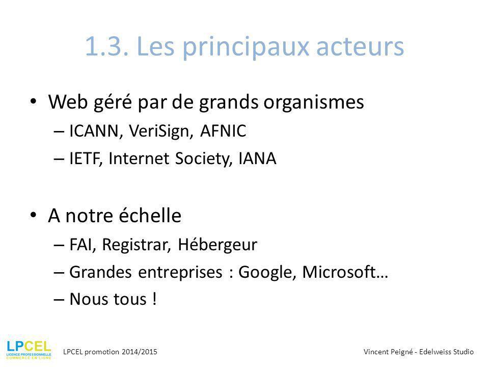 1.3. Les principaux acteurs Web géré par de grands organismes – ICANN, VeriSign, AFNIC – IETF, Internet Society, IANA A notre échelle – FAI, Registrar