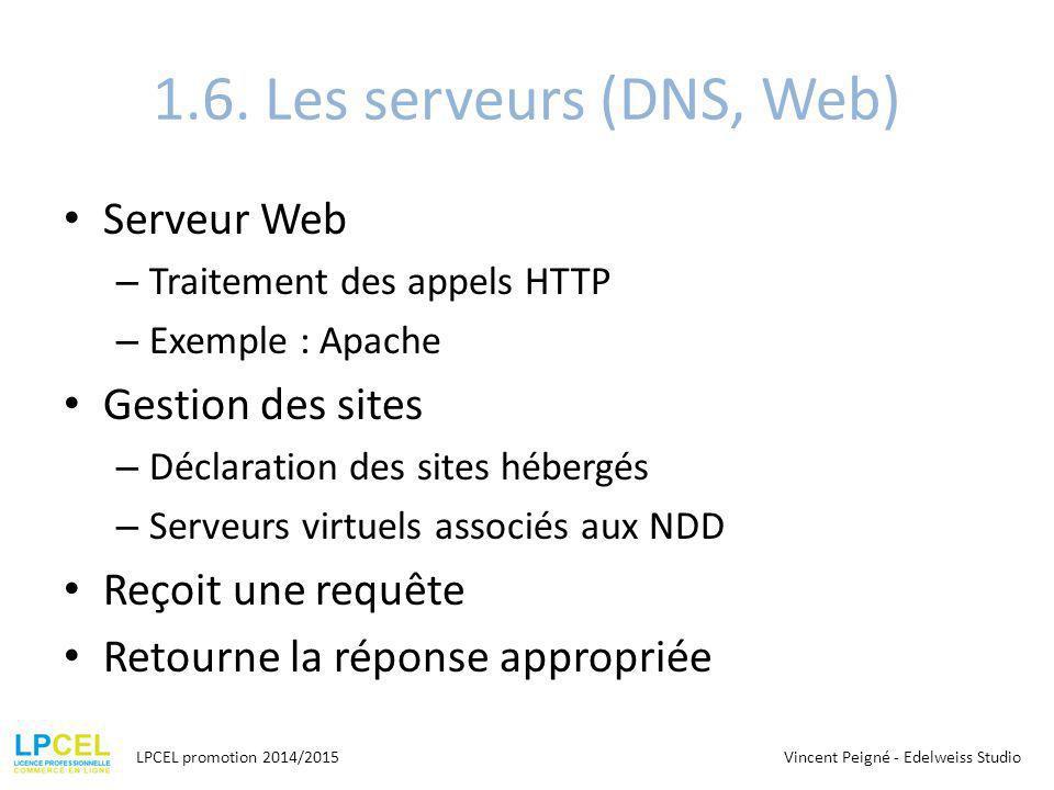 1.6. Les serveurs (DNS, Web) Serveur Web – Traitement des appels HTTP – Exemple : Apache Gestion des sites – Déclaration des sites hébergés – Serveurs
