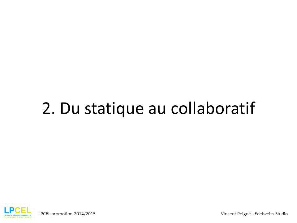 2. Du statique au collaboratif LPCEL promotion 2014/2015Vincent Peigné - Edelweiss Studio