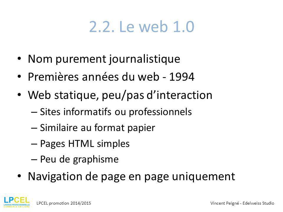 2.2. Le web 1.0 Nom purement journalistique Premières années du web - 1994 Web statique, peu/pas d'interaction – Sites informatifs ou professionnels –