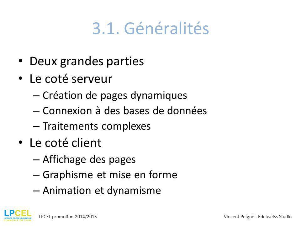 3.1. Généralités Deux grandes parties Le coté serveur – Création de pages dynamiques – Connexion à des bases de données – Traitements complexes Le cot
