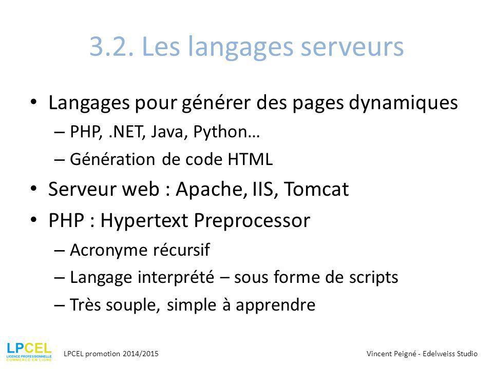 3.2. Les langages serveurs Langages pour générer des pages dynamiques – PHP,.NET, Java, Python… – Génération de code HTML Serveur web : Apache, IIS, T