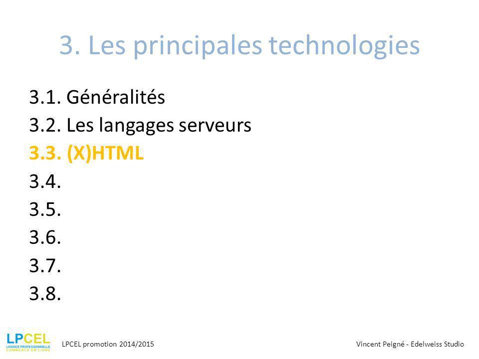 3.Les principales technologies 3.1. Généralités 3.2.