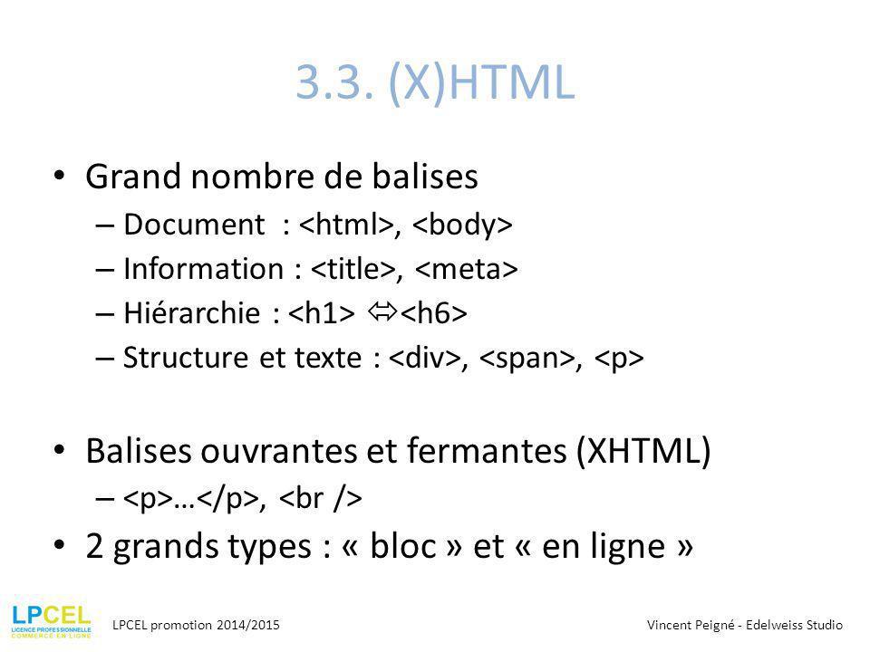 3.3. (X)HTML Grand nombre de balises – Document :, – Information :, – Hiérarchie :  – Structure et texte :,, Balises ouvrantes et fermantes (XHTML) –