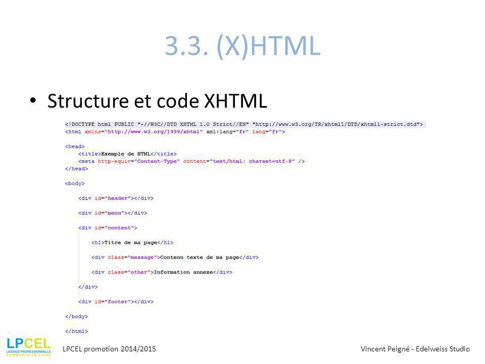3.3. (X)HTML Structure et code XHTML LPCEL promotion 2014/2015Vincent Peigné - Edelweiss Studio