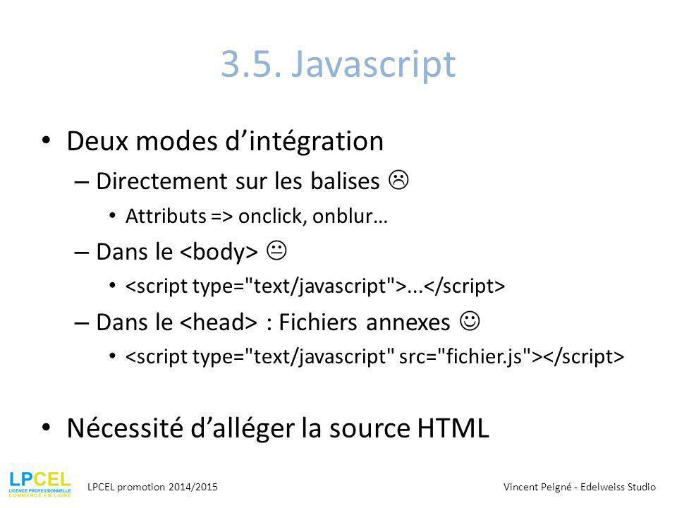 3.5. Javascript Deux modes d'intégration – Directement sur les balises  Attributs => onclick, onblur… – Dans le ... – Dans le : Fichiers annexes Néc
