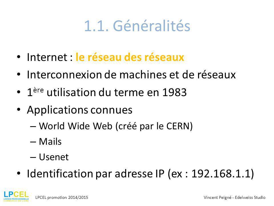 1.1. Généralités Internet : le réseau des réseaux Interconnexion de machines et de réseaux 1 ère utilisation du terme en 1983 Applications connues – W