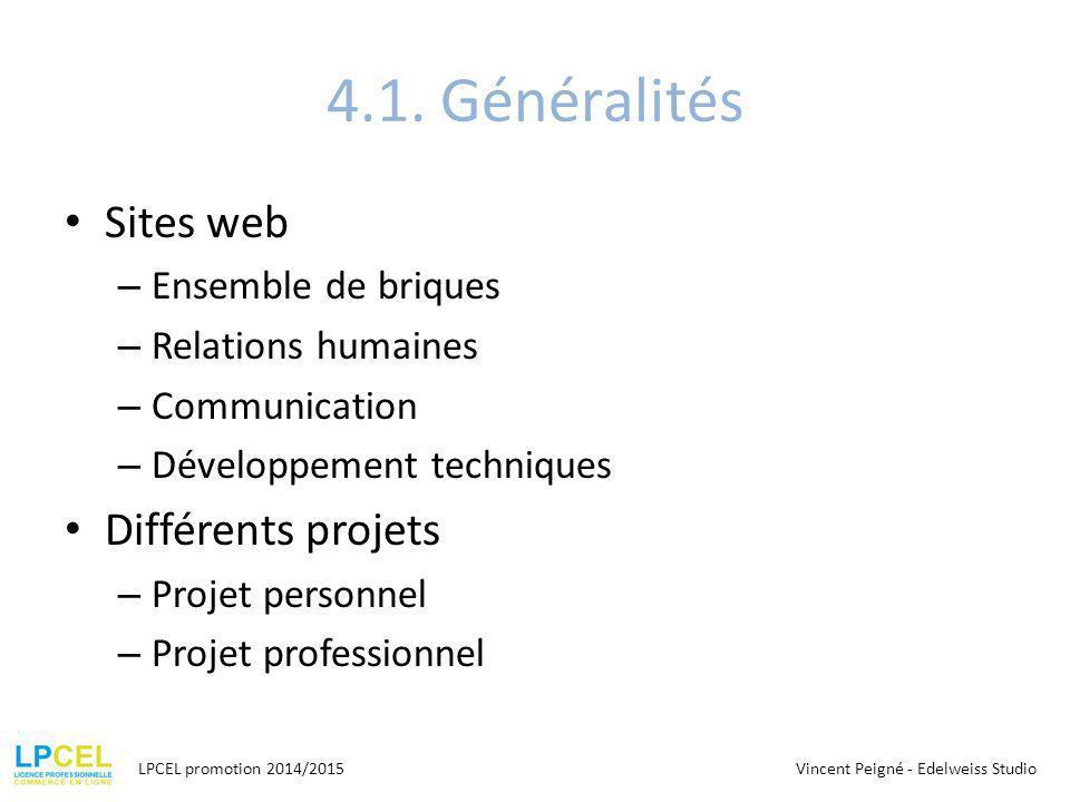 4.1. Généralités Sites web – Ensemble de briques – Relations humaines – Communication – Développement techniques Différents projets – Projet personnel