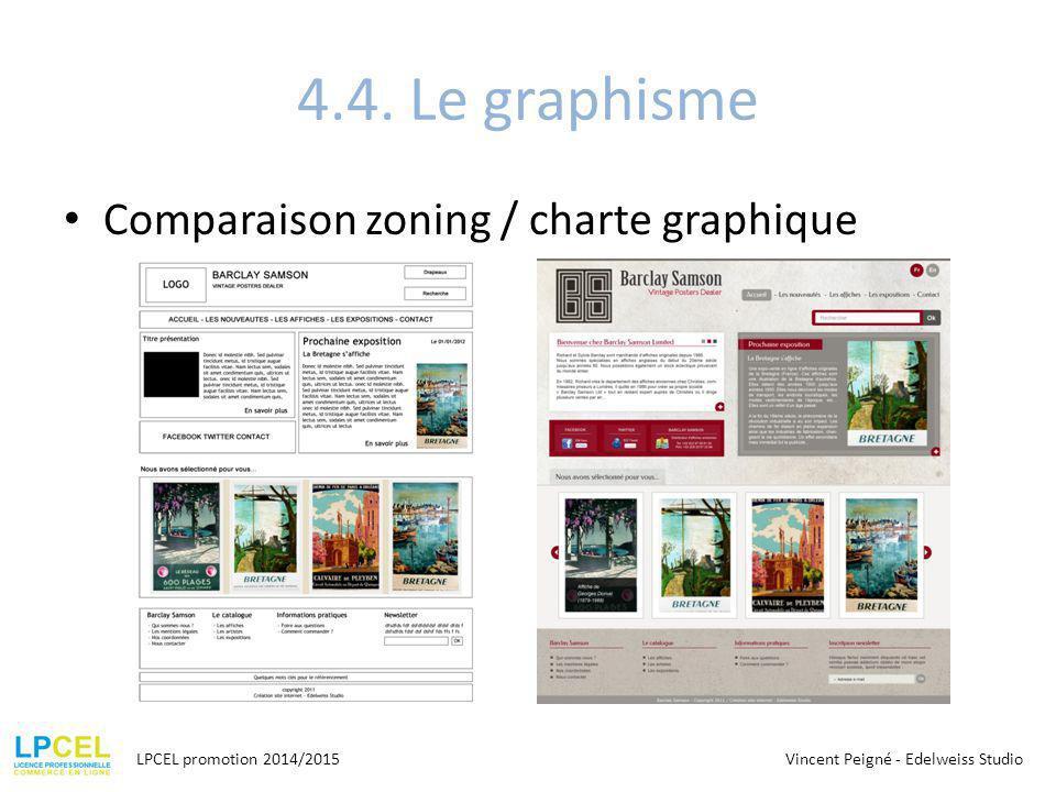 4.4. Le graphisme Comparaison zoning / charte graphique LPCEL promotion 2014/2015Vincent Peigné - Edelweiss Studio