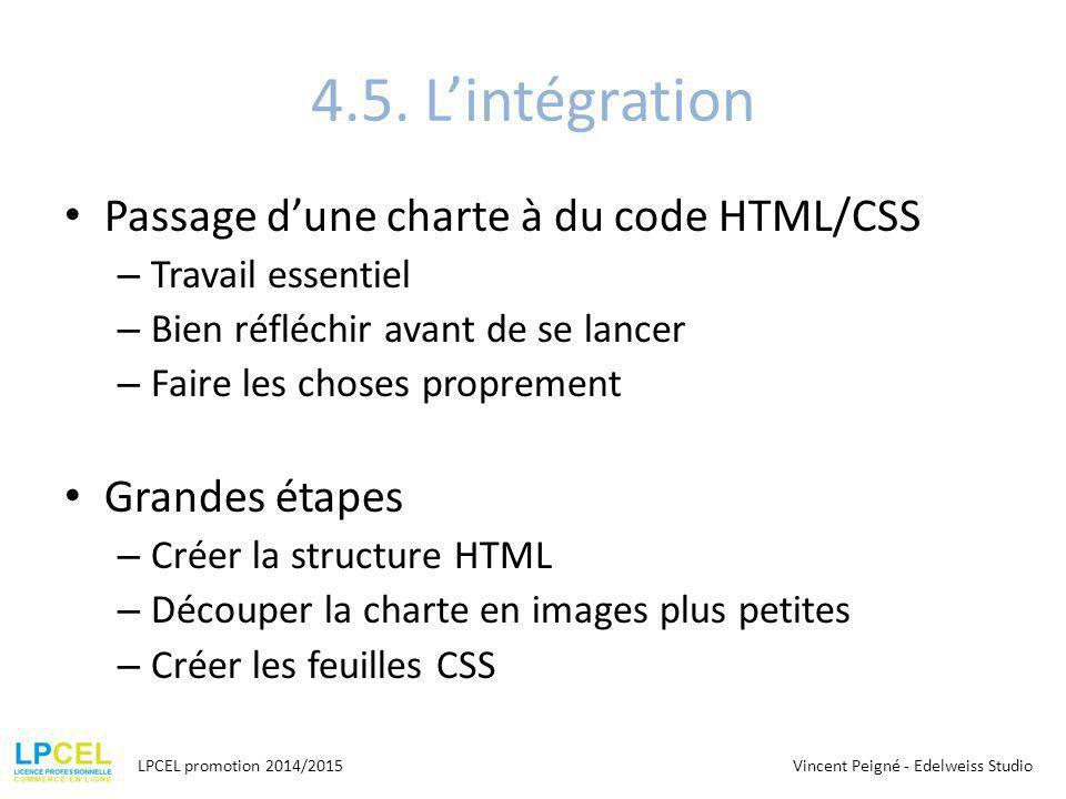 4.5. L'intégration Passage d'une charte à du code HTML/CSS – Travail essentiel – Bien réfléchir avant de se lancer – Faire les choses proprement Grand