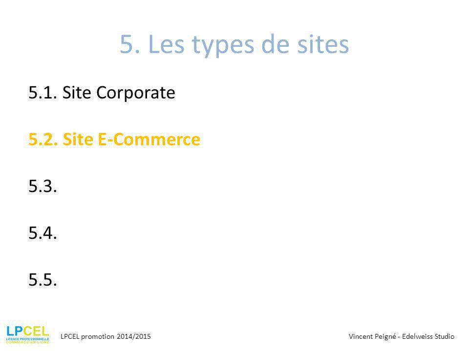 5. Les types de sites 5.1. Site Corporate 5.2. Site E-Commerce 5.3. 5.4. 5.5. LPCEL promotion 2014/2015Vincent Peigné - Edelweiss Studio