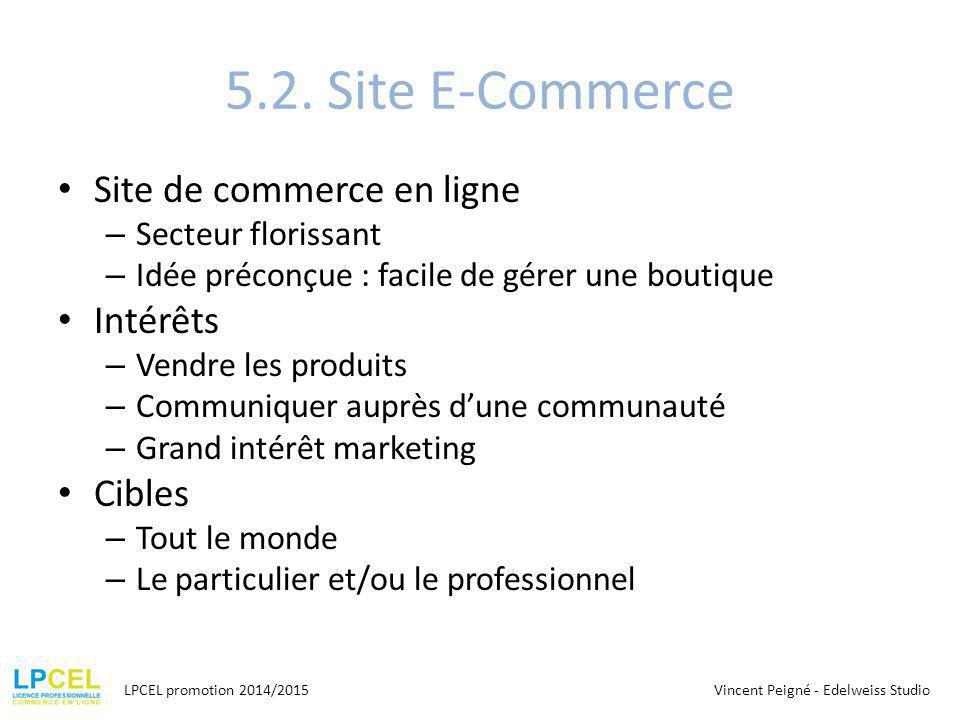 5.2. Site E-Commerce Site de commerce en ligne – Secteur florissant – Idée préconçue : facile de gérer une boutique Intérêts – Vendre les produits – C
