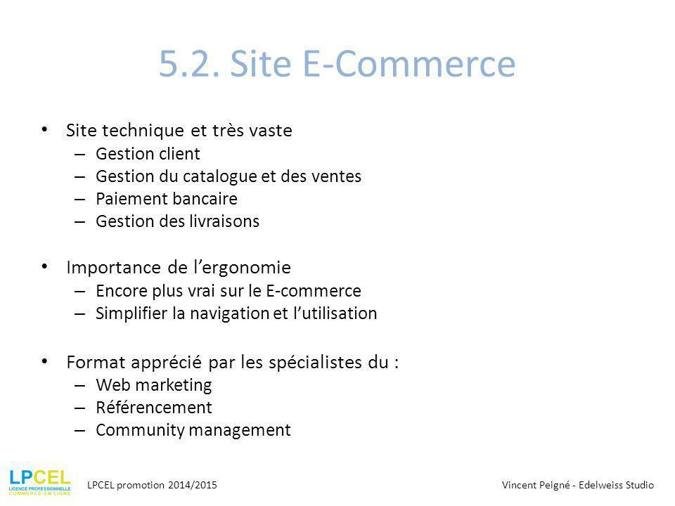 5.2. Site E-Commerce Site technique et très vaste – Gestion client – Gestion du catalogue et des ventes – Paiement bancaire – Gestion des livraisons I