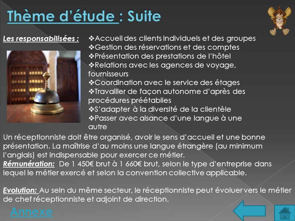 Annexe Les responsabilisées :  Accueil des clients individuels et des groupes  Gestion des réservations et des comptes  Présentation des prestation