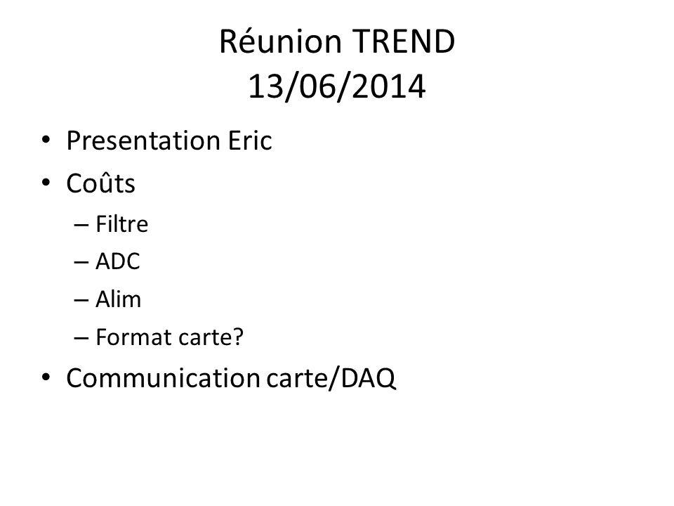 Réunion TREND 13/06/2014 Presentation Eric Coûts – Filtre – ADC – Alim – Format carte.