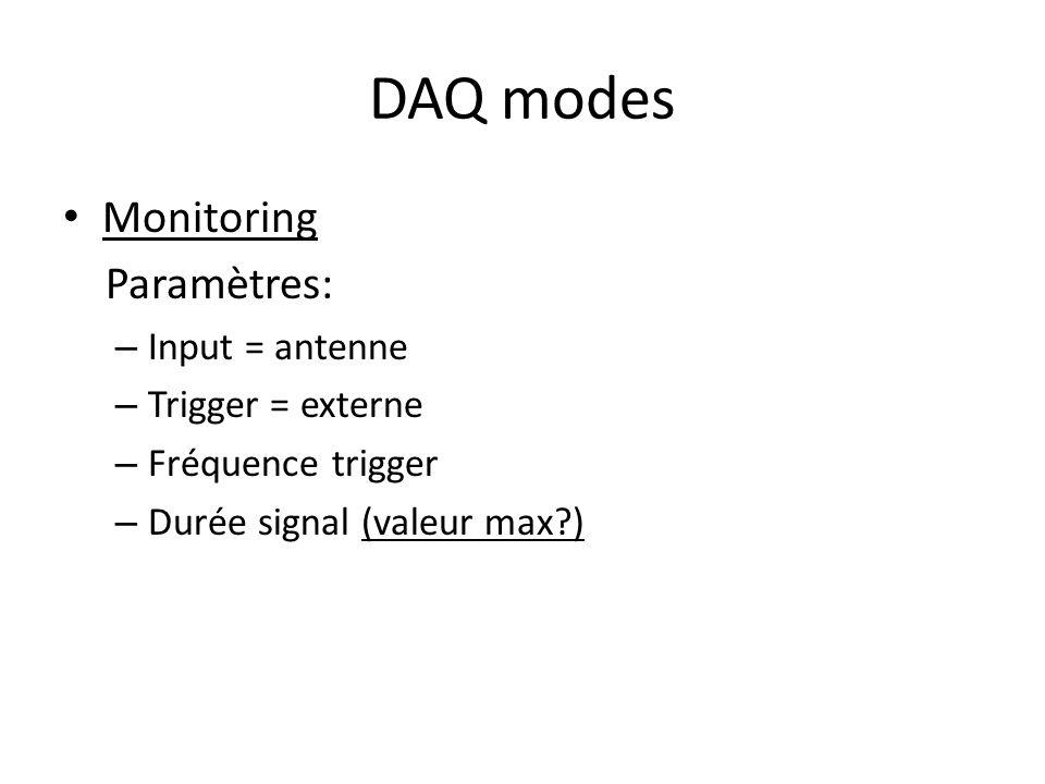 DAQ modes Monitoring Paramètres: – Input = antenne – Trigger = externe – Fréquence trigger – Durée signal (valeur max?)