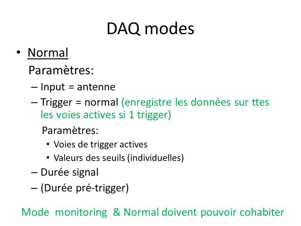 DAQ modes Normal Paramètres: – Input = antenne – Trigger = normal (enregistre les données sur ttes les voies actives si 1 trigger) Paramètres: Voies de trigger actives Valeurs des seuils (individuelles) – Durée signal – (Durée pré-trigger) Mode monitoring & Normal doivent pouvoir cohabiter