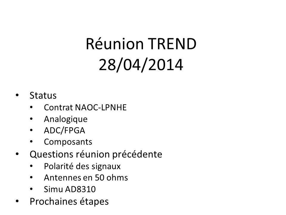 Réunion TREND 28/04/2014 Status Contrat NAOC-LPNHE Analogique ADC/FPGA Composants Questions réunion précédente Polarité des signaux Antennes en 50 ohms Simu AD8310 Prochaines étapes