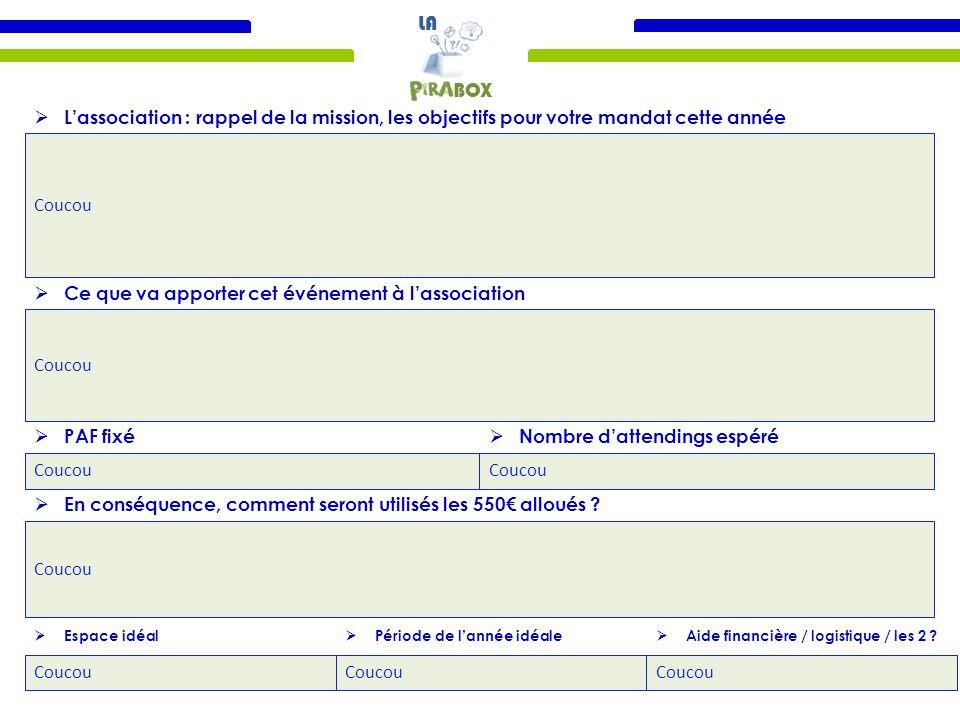 LA BOX Coucou  L'association : rappel de la mission, les objectifs pour votre mandat cette année Coucou  Ce que va apporter cet événement à l'association Coucou  PAF fixé Coucou  Nombre d'attendings espéré Coucou  En conséquence, comment seront utilisés les 550€ alloués .