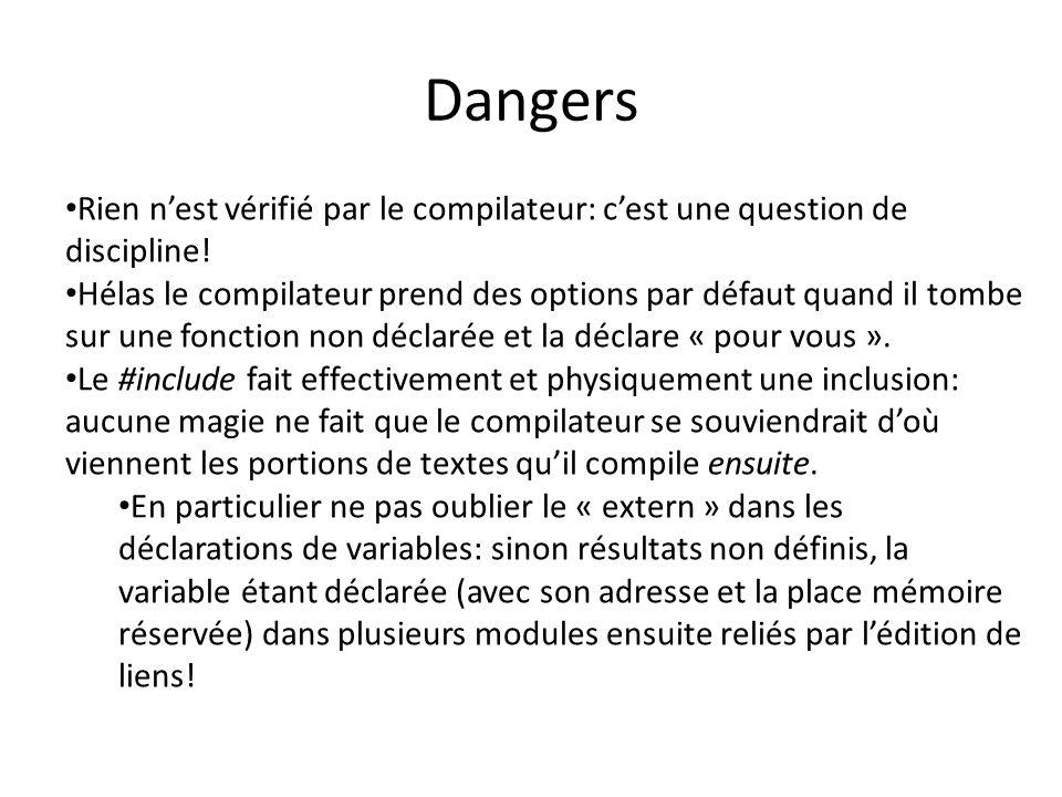 Dangers Rien n'est vérifié par le compilateur: c'est une question de discipline! Hélas le compilateur prend des options par défaut quand il tombe sur