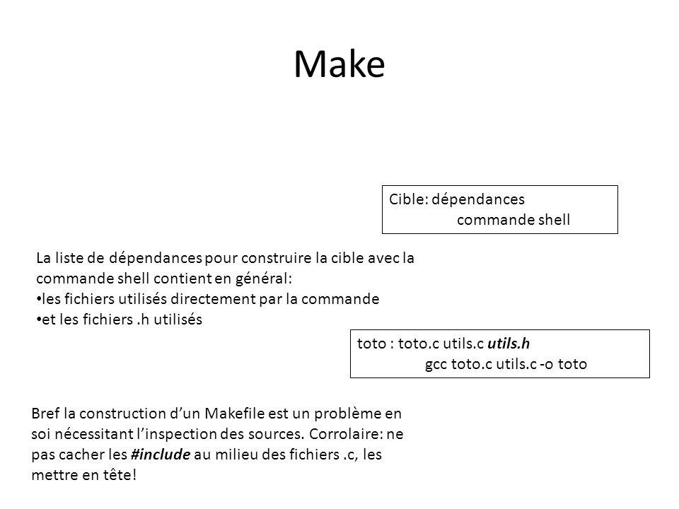Make Cible: dépendances commande shell La liste de dépendances pour construire la cible avec la commande shell contient en général: les fichiers utili