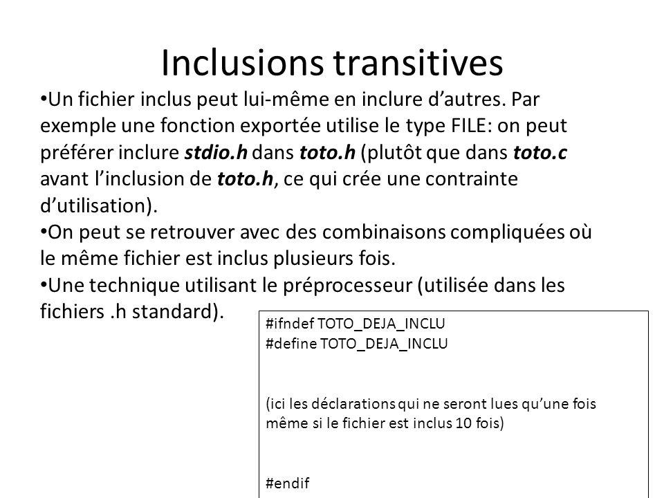 Inclusions transitives Un fichier inclus peut lui-même en inclure d'autres. Par exemple une fonction exportée utilise le type FILE: on peut préférer i