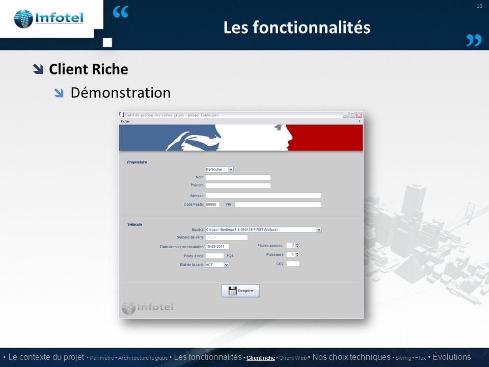 Les fonctionnalités  Client Riche  Démonstration 13 Le contexte du projet Périmètre Architecture logique Les fonctionnalités Client riche Client Web