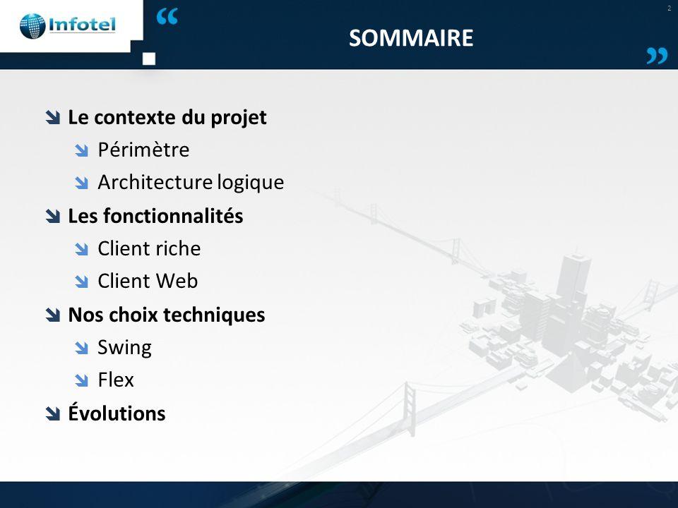 SOMMAIRE  Le contexte du projet  Périmètre  Architecture logique  Les fonctionnalités  Client riche  Client Web  Nos choix techniques  Swing 