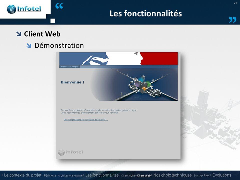 Les fonctionnalités  Client Web  Démonstration 20 Le contexte du projet Périmètre Architecture logique Les fonctionnalités Client riche Client Web N