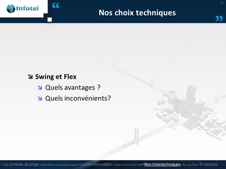 Nos choix techniques  Swing et Flex  Quels avantages ?  Quels inconvénients? 21 Le contexte du projet Périmètre Architecture logique Les fonctionna